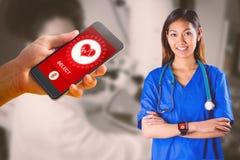 Immagine composita dell'infermiere asiatico con le armi dell'incrocio dello stetoscopio Immagini Stock