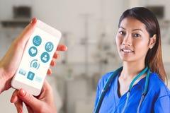Immagine composita dell'infermiere asiatico con lo stetoscopio che esamina la macchina fotografica Fotografie Stock