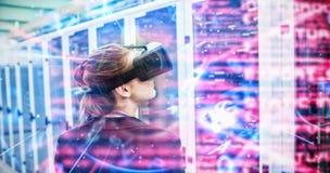 Immagine composita dell'interfaccia blu e rossa di tecnologia immagini stock