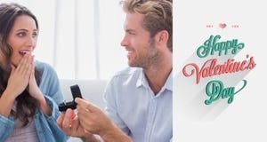Immagine composita dell'uomo che chiede al suo partner di sposarlo Fotografie Stock
