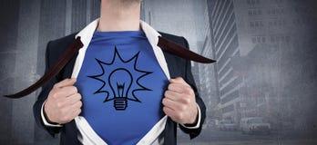 Immagine composita dell'uomo d'affari che apre il suo stile del supereroe della camicia Fotografie Stock Libere da Diritti