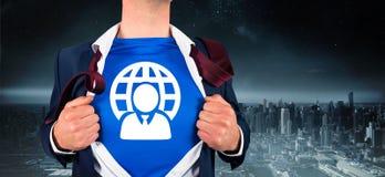 Immagine composita dell'uomo d'affari che apre il suo stile del supereroe della camicia Immagine Stock