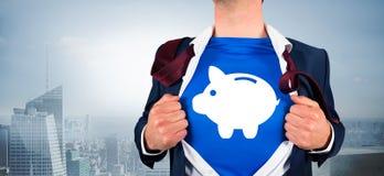 Immagine composita dell'uomo d'affari che apre il suo stile del supereroe della camicia Immagini Stock