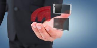 Immagine composita dell'uomo d'affari che dà la sua mano 3d Fotografia Stock