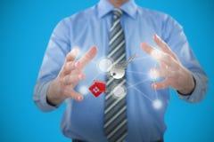 Immagine composita dell'uomo d'affari che gesturing contro il fondo bianco 3D Fotografia Stock