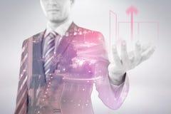 Immagine composita dell'uomo d'affari che gesturing contro il fondo bianco 3D Immagine Stock Libera da Diritti