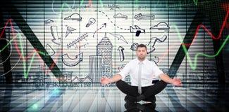 Immagine composita dell'uomo d'affari che medita nella posa del loto Immagini Stock Libere da Diritti