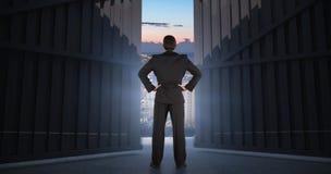 Immagine composita dell'uomo d'affari che sta di nuovo alla macchina fotografica con le mani sull'anca 3d Fotografia Stock