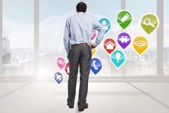 Immagine composita dell'uomo d'affari con la mano sull'anca Fotografia Stock Libera da Diritti