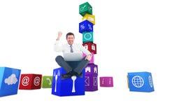 Immagine composita dell'uomo d'affari facendo uso del computer portatile e dell'incoraggiare royalty illustrazione gratis