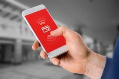 Immagine composita dell'uomo d'affari facendo uso del telefono cellulare sopra fondo bianco Fotografia Stock