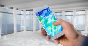 Immagine composita dell'uomo d'affari facendo uso del telefono cellulare sopra fondo bianco Fotografia Stock Libera da Diritti