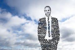 Immagine composita dell'uomo d'affari nelle parole alla moda illustrazione vettoriale
