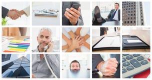 Immagine composita dell'uomo d'affari rilassato con i suoi piedi su Fotografia Stock Libera da Diritti
