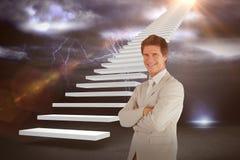 Immagine composita dell'uomo d'affari sicuro che sta alla macchina fotografica 3d Fotografie Stock Libere da Diritti