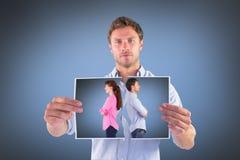 Immagine composita dell'uomo e della donna che affrontano via Fotografia Stock Libera da Diritti