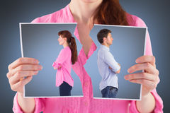 Immagine composita dell'uomo e della donna che affrontano via Immagini Stock Libere da Diritti