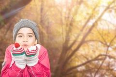 Immagine composita della bambina conclusa che si esaurisce le mani fotografia stock libera da diritti