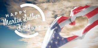Immagine composita della bandiera degli S.U.A. dipinta sulle mani che fanno forma del cuore illustrazione vettoriale