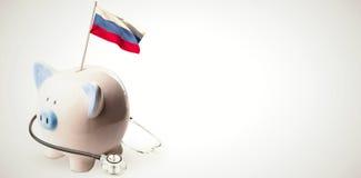Immagine composita della bandiera nazionale digitalmente generata della Russia illustrazione vettoriale