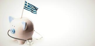Immagine composita della bandiera nazionale greca digitalmente generata illustrazione vettoriale