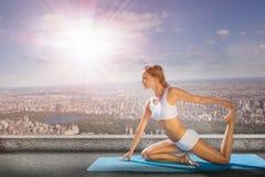 Immagine composita della bionda splendida di misura nella posa messa di yoga Fotografie Stock Libere da Diritti