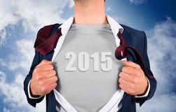 Immagine composita della camicia di apertura dell'uomo d'affari nello stile del supereroe Fotografia Stock Libera da Diritti