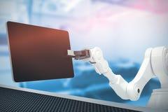 Immagine composita della compressa a macchina e digitale contro fondo bianco 3d Immagini Stock
