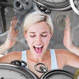 Immagine composita della donna bionda felice che grida con le mani su Fotografie Stock