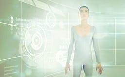 Immagine composita della donna che cerca contro il fondo bianco Fotografia Stock