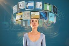 Immagine composita della donna che cerca contro il fondo bianco 3d Fotografie Stock