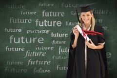 Immagine composita della donna che sorride alla sua graduazione Immagini Stock Libere da Diritti