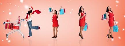 Immagine composita della donna che sta con i sacchetti della spesa Fotografia Stock Libera da Diritti