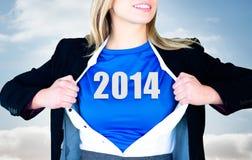 Immagine composita della donna di affari che apre il suo stile del supereroe della camicia Fotografia Stock Libera da Diritti