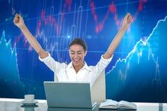 Immagine composita della donna di affari che celebra un grande successo Fotografia Stock Libera da Diritti