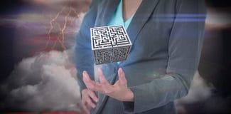 Immagine composita della donna di affari che gesturing contro il fondo apocalittico Immagini Stock Libere da Diritti