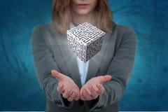 Immagine composita della donna di affari che gesturing contro il fondo blu Fotografia Stock Libera da Diritti