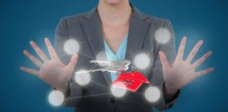 Immagine composita della donna di affari che per mezzo dello schermo digitale 3D Immagine Stock