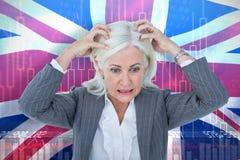Immagine composita della donna di affari sollecitata con le mani sulla testa Fotografia Stock Libera da Diritti