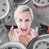 Immagine composita della donna di ribaltamento che urla con le mani su Fotografia Stock Libera da Diritti