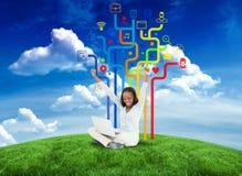 Immagine composita della donna felice con le icone di app Fotografie Stock Libere da Diritti