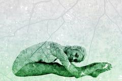 Immagine composita della donna tonificata che fa la posa di paschimottanasana Fotografia Stock Libera da Diritti