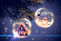 Immagine composita della famiglia bianca digitalmente generata della neve illustrazione di stock
