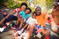 Immagine composita della famiglia e dei cuori 3d Fotografie Stock Libere da Diritti