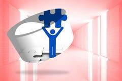 Immagine composita della figura pezzo del puzzle della tenuta sullo schermo astratto illustrazione di stock