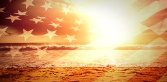 Immagine composita della fine su del noi bandiera Fotografie Stock