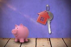 Immagine composita della fine su del porcellino salvadanaio rosa 3d Immagini Stock