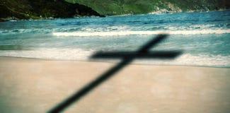 Immagine composita della fine su dell'incrocio di legno 3d Fotografie Stock Libere da Diritti
