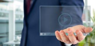 Immagine composita della fine sulla vista della mano 3d dell'uomo d'affari Fotografia Stock