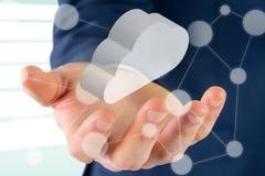 Immagine composita della fine sulla vista della mano 3d dell'uomo d'affari Immagini Stock